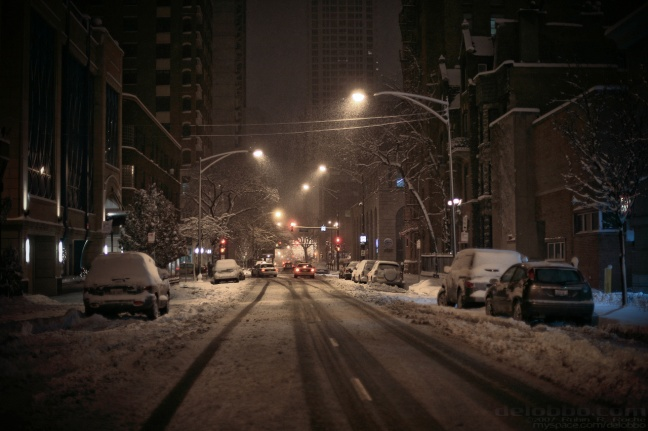 Winter chicago snowy street